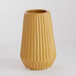 RIFFLE - βάζο κεραμικό 13,5 cm, κίτρινο