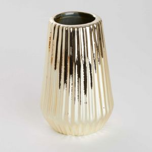 RIFFLE - βάζο κεραμικό 13,5 cm, χρυσό