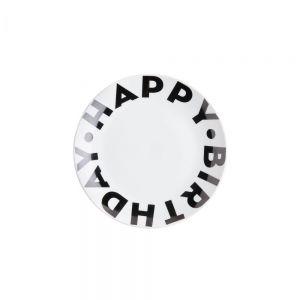 HAPPY BIRTHDAY - πιάτο 20 cm μαύρο